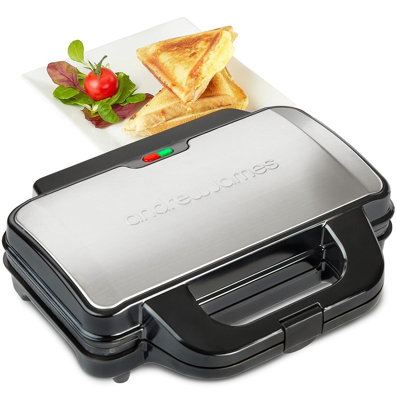 Andrew James électrique Deep Fill & Sandwich Grill machine–4Slice Triangles pression avec poignée Cool Touch et plaques à revêtement antiadhésif pour fromage grillés Croustillants épai