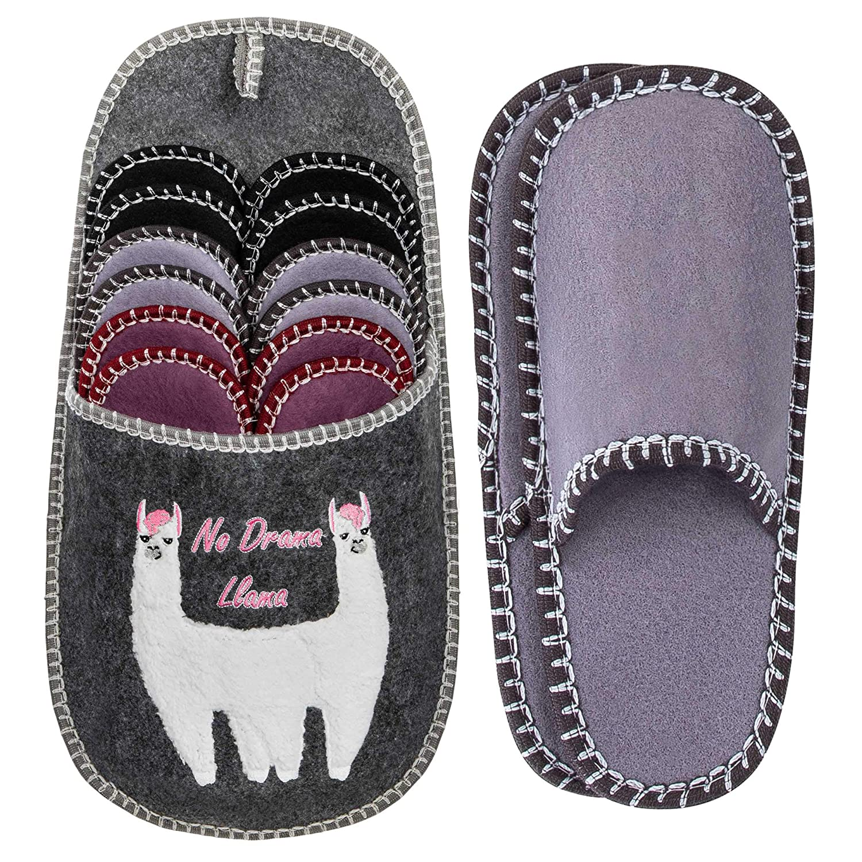 No Drama Llama Lama 37-45 Set di 6 Pantofole per Ospiti in ABS ONVAYA/® Scarpe per Ospiti