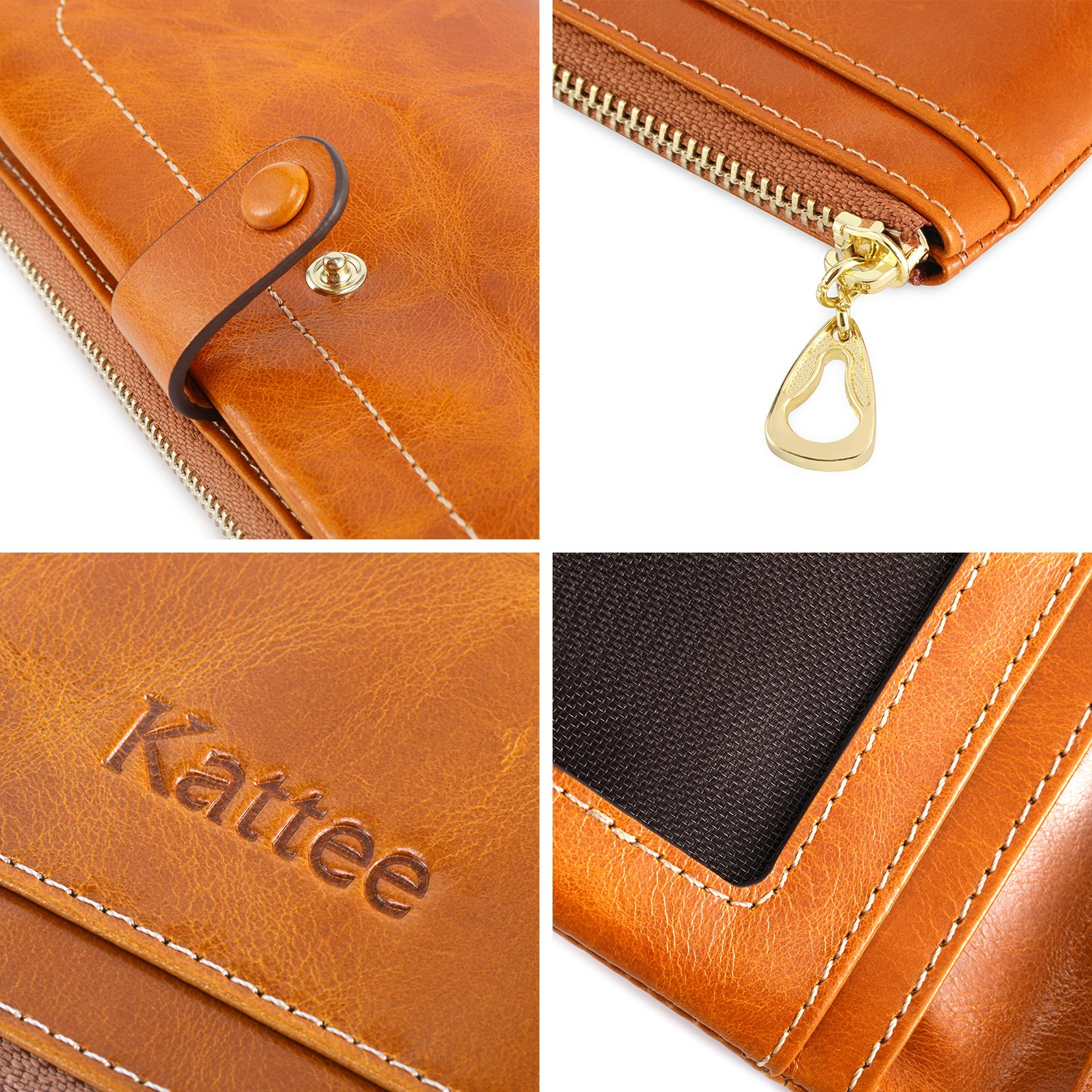 Kattee Women's Fashion Real Leather Zipper Wallet Card Bag Coin Case Phone Holder Brown by Kattee (Image #7)