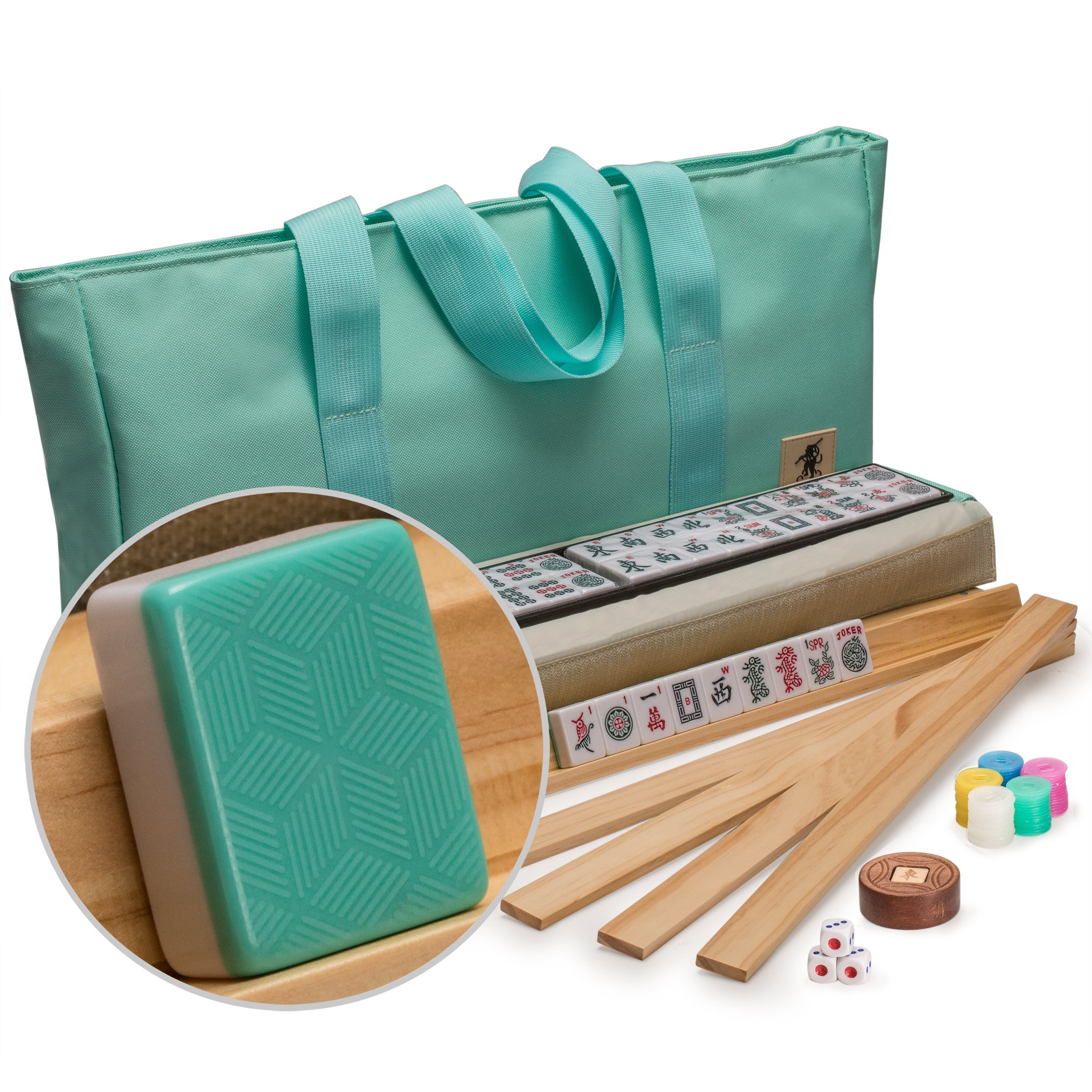 """Yellow Mountain Imports American Mahjong Set with 166 Tiles, Soft Case, Racks with Pushers, and Accessories, """"Pepper"""" by Yellow Mountain Imports"""