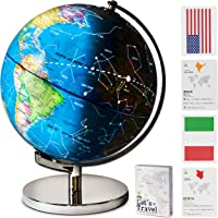 """12"""" Tall Illuminated Educational Kids World Globe + STEM Flags & Countries Interactive Card Game. 3 in 1 Children…"""