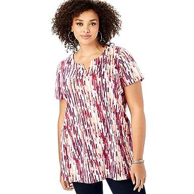 b01e8f3098b Roamans Women's Plus Size Print Notch Neck Tunic - Deep Claret Abstract  Stripe, ...