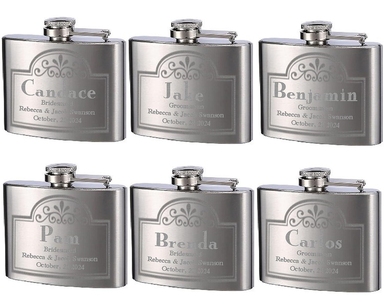 最安 Top Shelf Flasks Shelf Personalizedカスタム彫刻4ozステンレススチールFlasks forや結婚式、TrueメタルエッチングLasts a a 6pk Lifetime, 6pk B07DVLMY5P, 鹿追町:069bb63d --- a0267596.xsph.ru