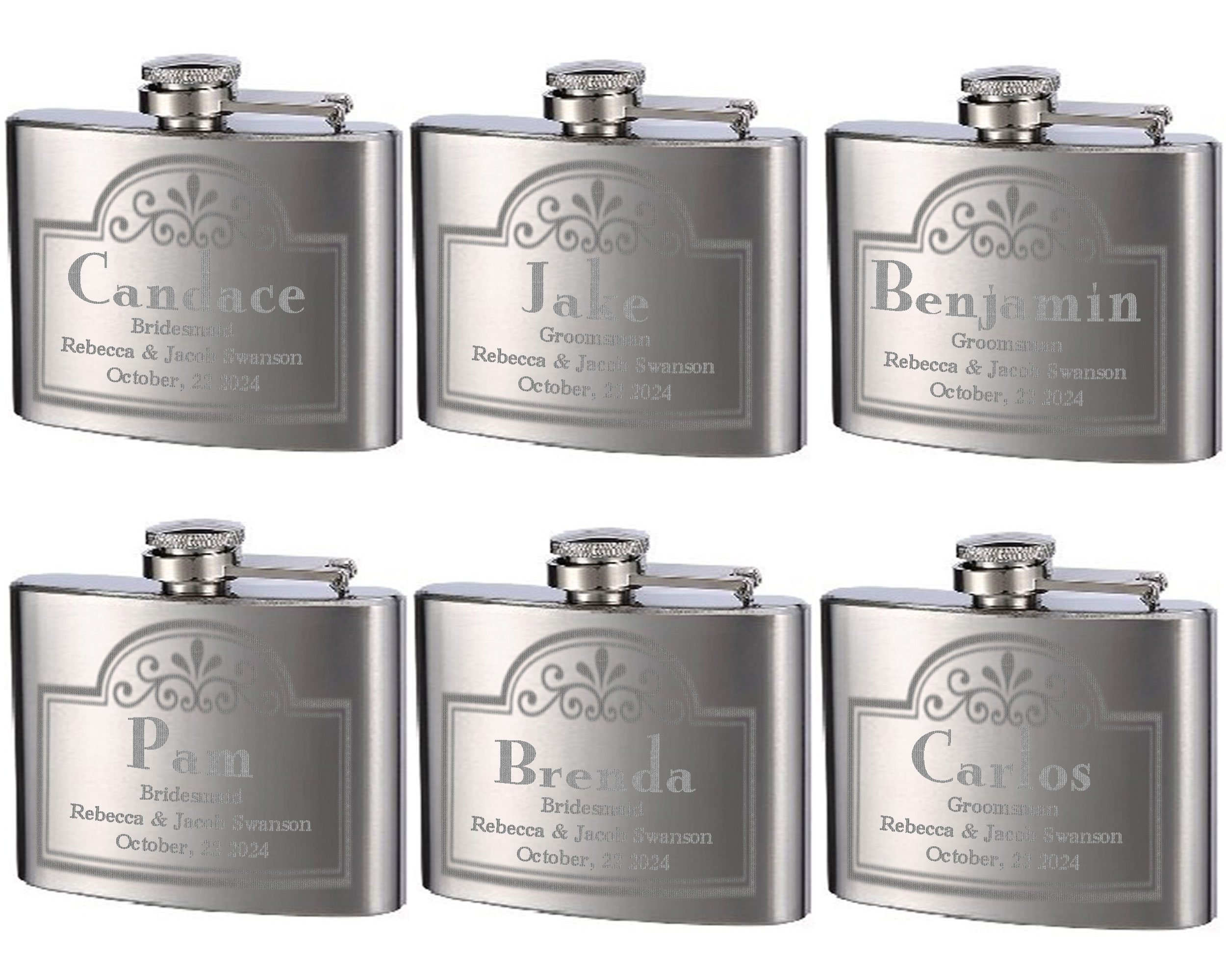 Top Shelf Flasks Personalized Custom Engraved 4oz Stainless Steel Flasks for Weddings, True Metal Etching Lasts a Lifetime, 6PK