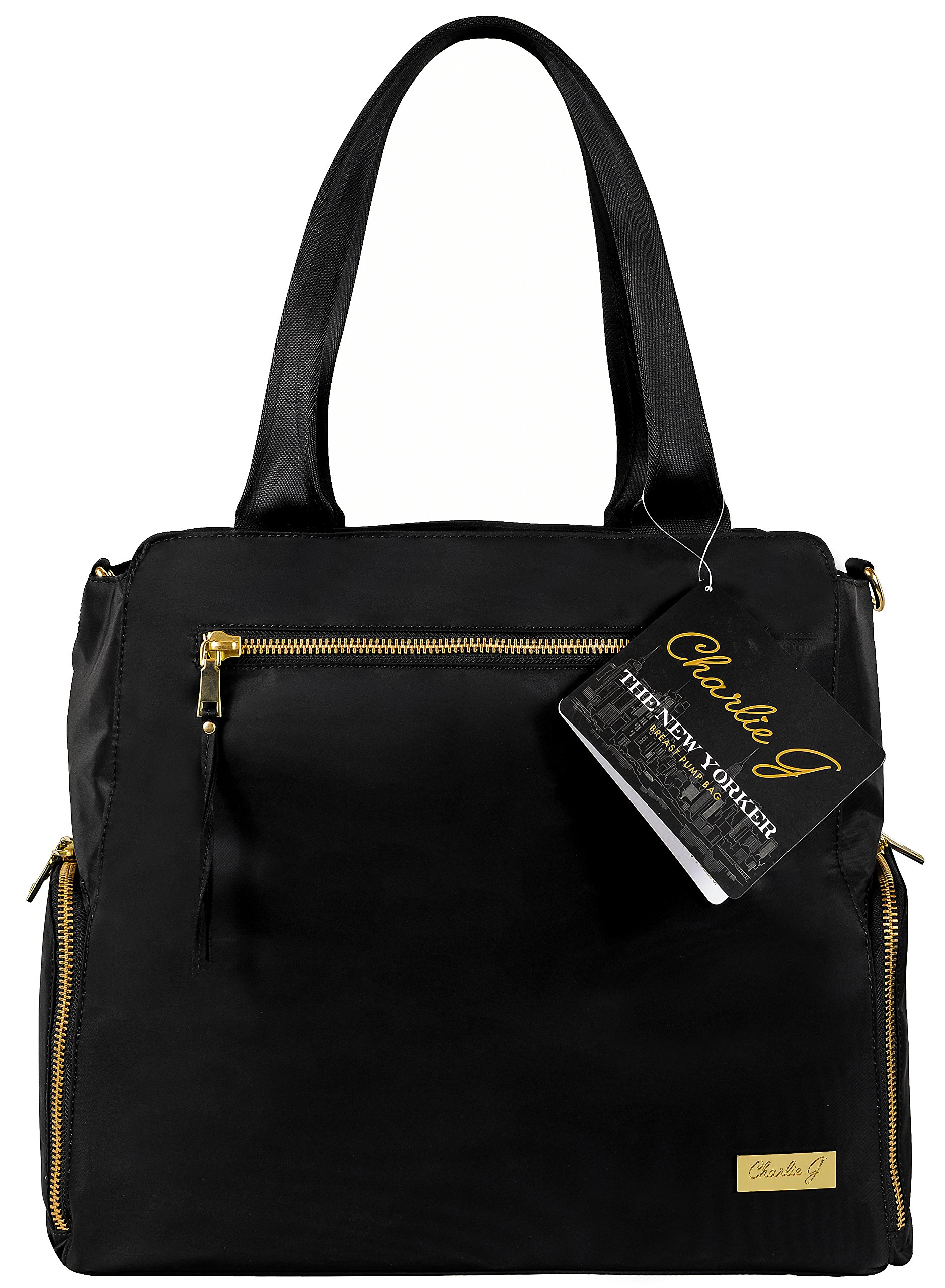 The New Yorker Breast Pump Bag by Charlie G, Black/Gold (Large) by Charlie G Bags