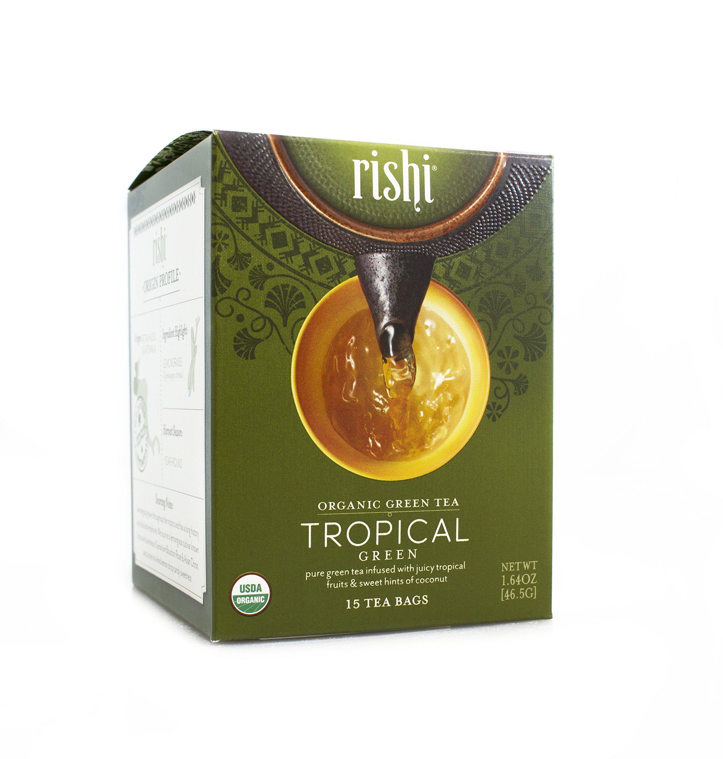 Rishi Tea Organic Tropical Green Tea Bags, 15 Count  (Pack of 6) by Rishi Tea
