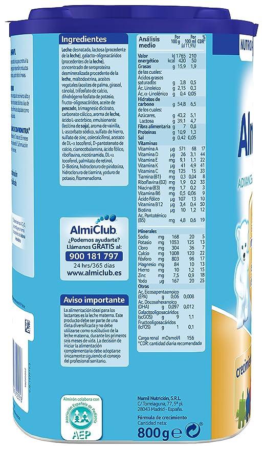 Almirón Advance con Pronutra 4 Leche de crecimiento en polvo desde los 24 meses - 800 g: Amazon.es: Amazon Pantry