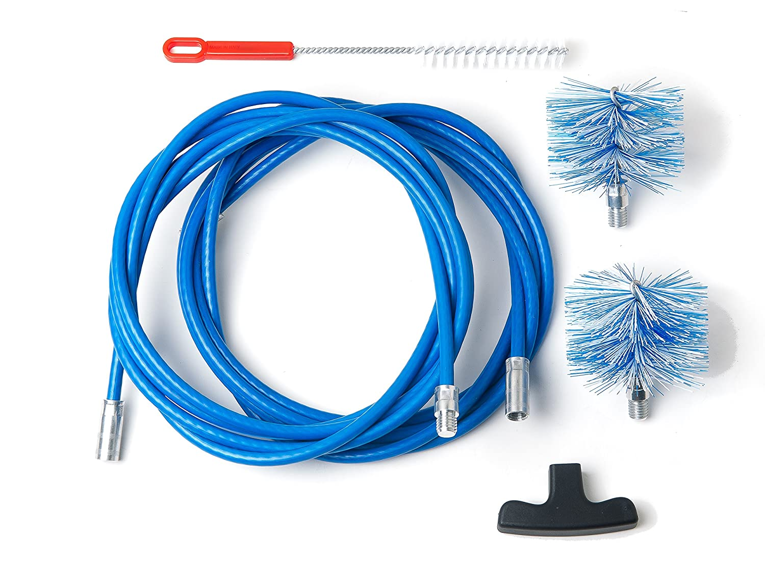 Cleaning kit for pellet stove - chimney sweeping kit - 6 metres - 2 tube brush 80mm and 100mm Baretto Spazzole