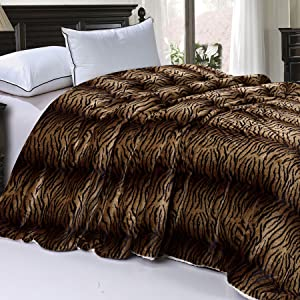 """Home Soft Things Soft and Thick Faux Fur Sherpa Backing Bed Blanket, Queen (84"""" x 92""""), Tiger"""