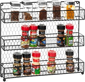 MyGift 3-Tier Country Rustic Black Chicken Wire Wall-Mounted Spice Rack Storage Organizer Shelves