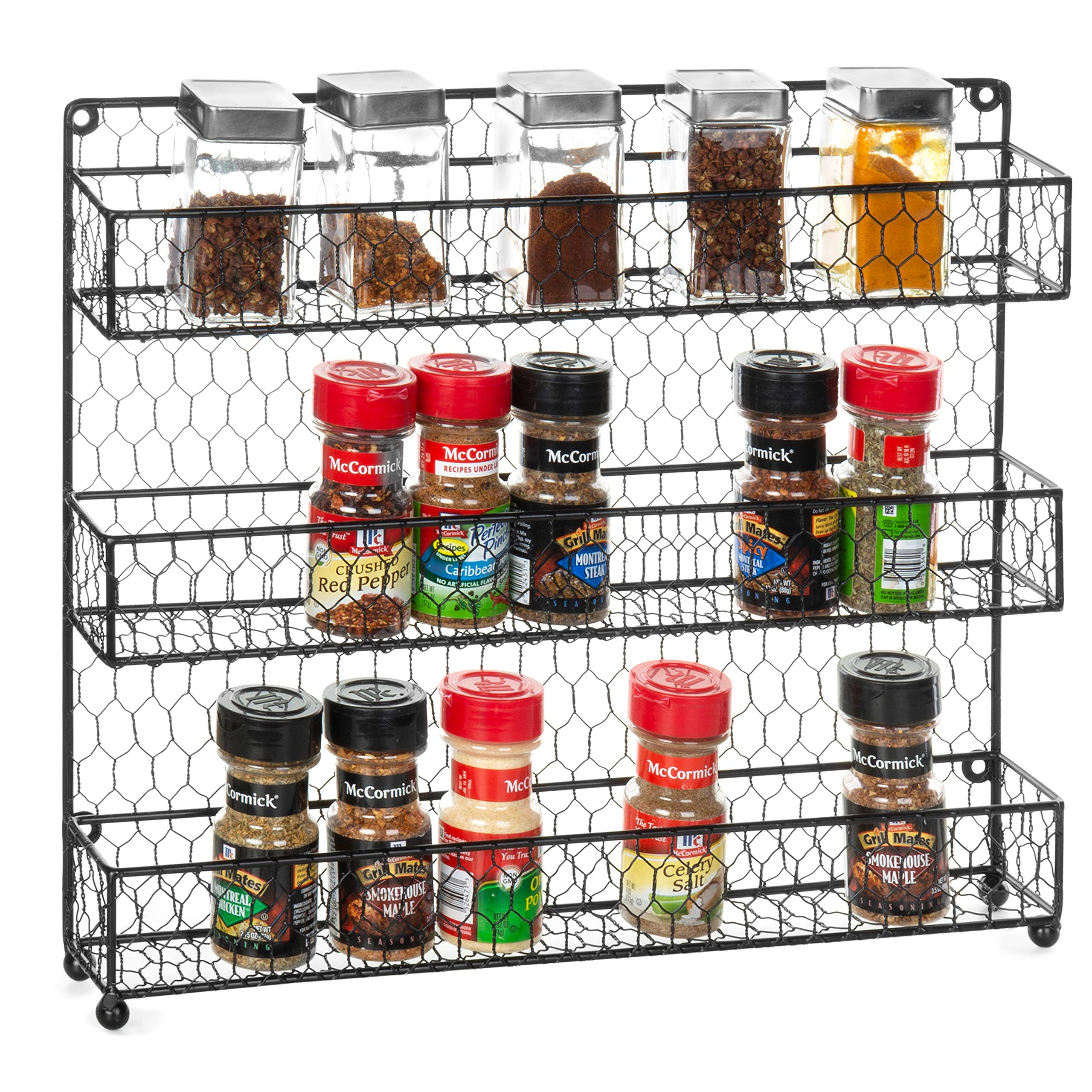 MyGift 3-Tier Rustic Chicken Wire Wall-Mounted Spice Rack by MyGift