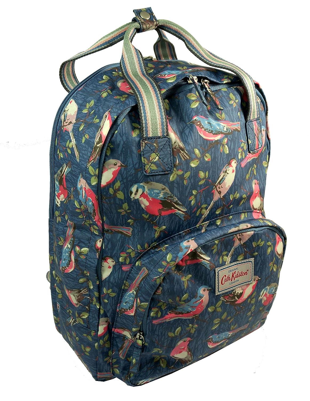 good Cath Kidston Matt Oilcloth Multi Pocket Backpack Rucksack Small Garden Birds Mid Blue 16AW
