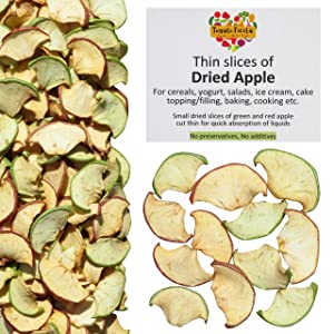 Dried Thin Slices of Apple - For cereals, yogurt, salads, ice cream, cake topping / filling, baking, cooking etc. No preservatives no sugar added. Small dehydrated slices of green and red apples cut thin for quick absorption of liquids
