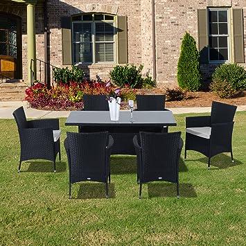 Outsunny Rattan Garden Furniture Dining 7 pc Set Patio Rectangular Table 6  Arm Chairs Fire Retardant. Outsunny Rattan Garden Furniture Dining 7 pc Set Patio Rectangular