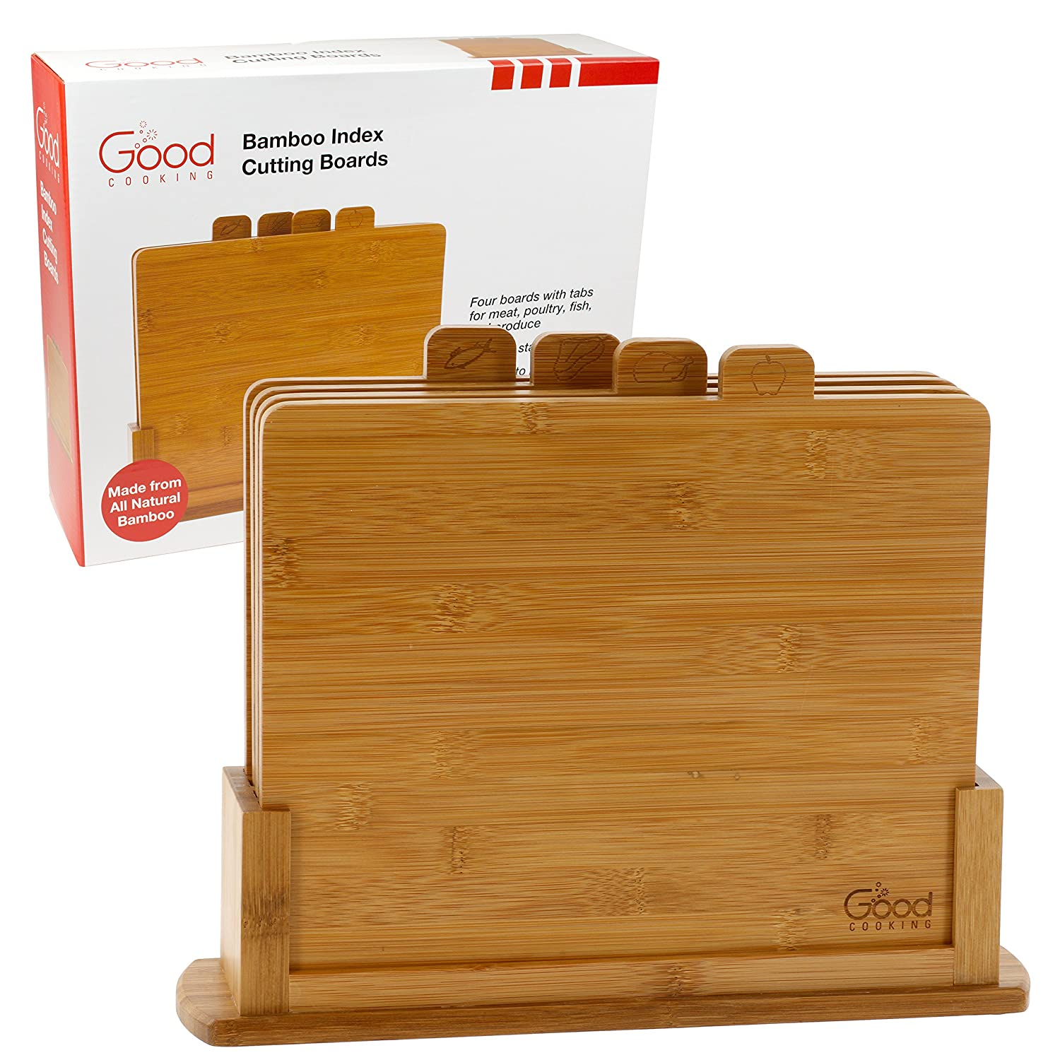 Bamboo Index Cutting Boards- All Natural Chopping Board with 4 Index Tabs by Good Cooking GCO-BCB-300