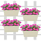 Klaxon Railing Planters - Rectangle Hanging Railing Planters for Balcony (12 Inch, Beige - 4 PCS)