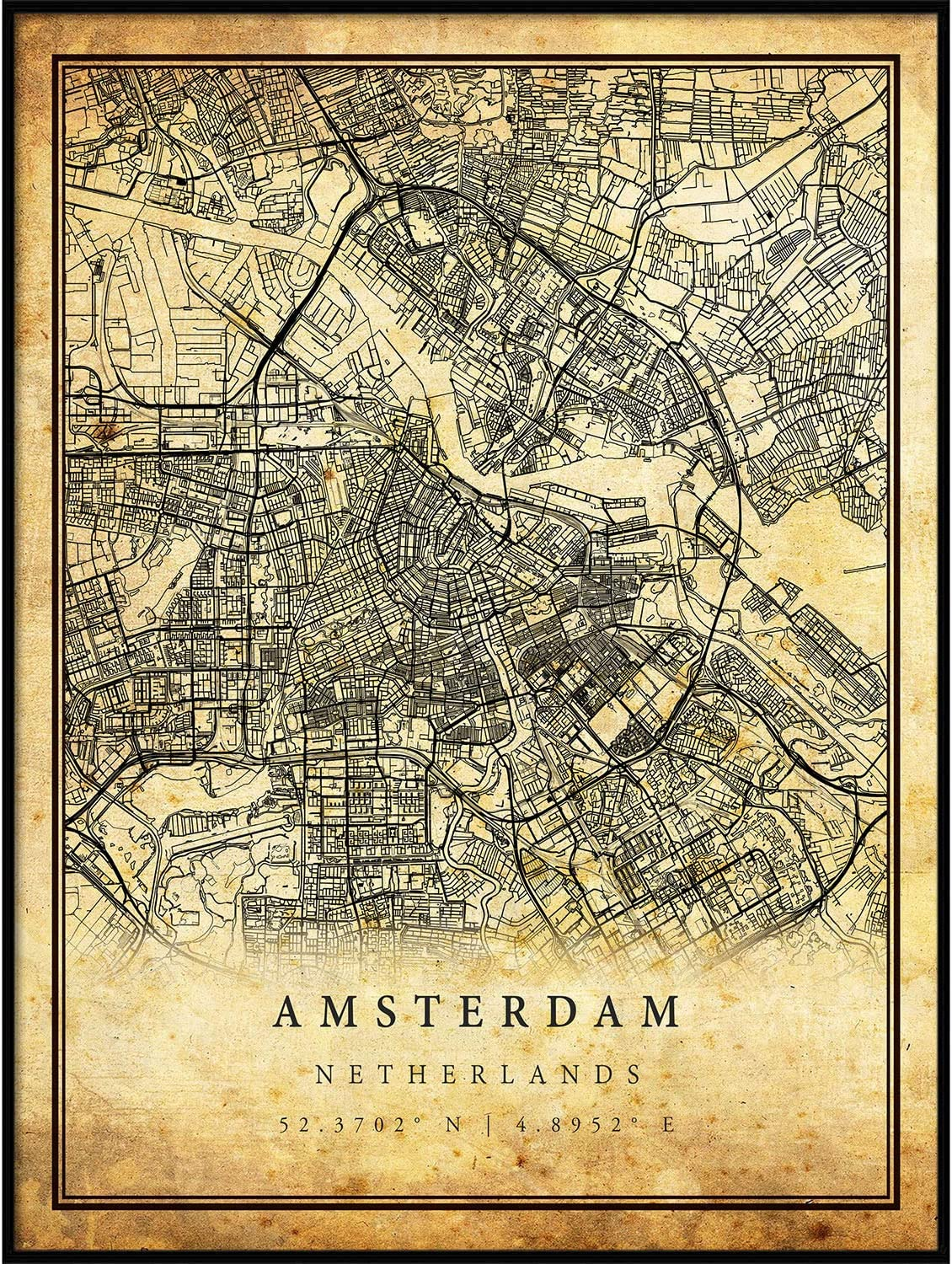 Amsterdam map Vintage Style Poster Print   Old City Artwork Prints   Antique Style Home Decor   Netherlands Wall Art Gift   map Wall Decor 11x14