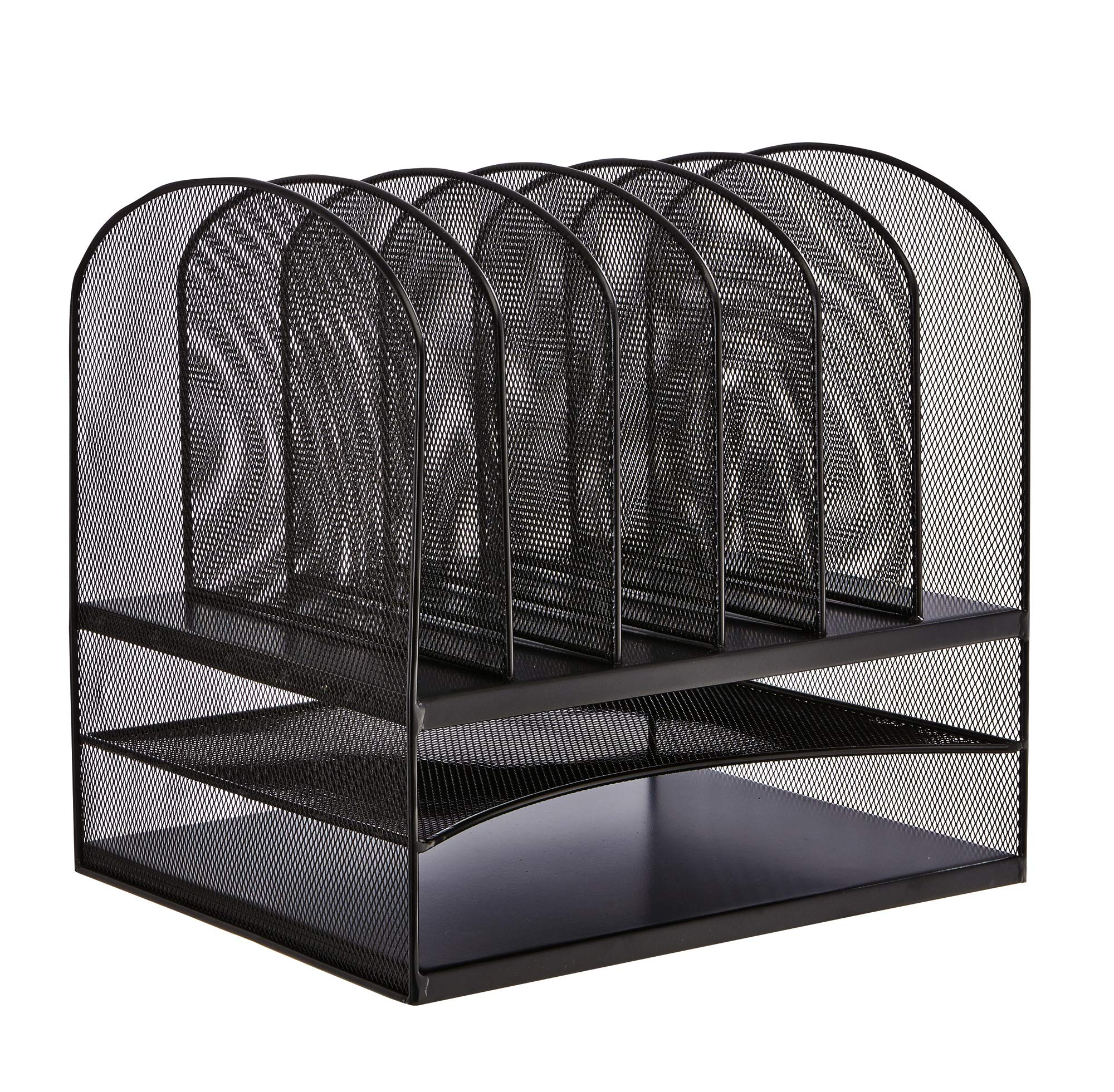 Safco Products Onyx Mesh 2 Tray/6 Sorter Desktop Organizer 3255BL, Black Powder Coat Finish, Durable Steel Mesh Construction, Space-saving Functionality by Safco Products
