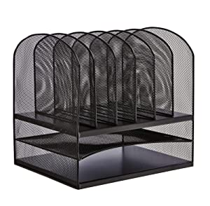 Safco Products Onyx Mesh 2 Tray/6 Sorter Desktop Organizer 3255BL, Black Powder Coat Finish, Durable Steel Mesh Construction, Space-saving Functionality