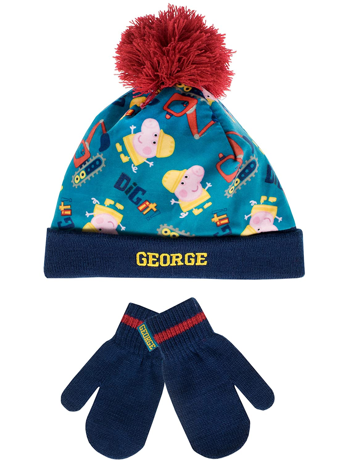 George Pig Boys George Pig Hat and Gloves Set Ages 2 to 8 Years