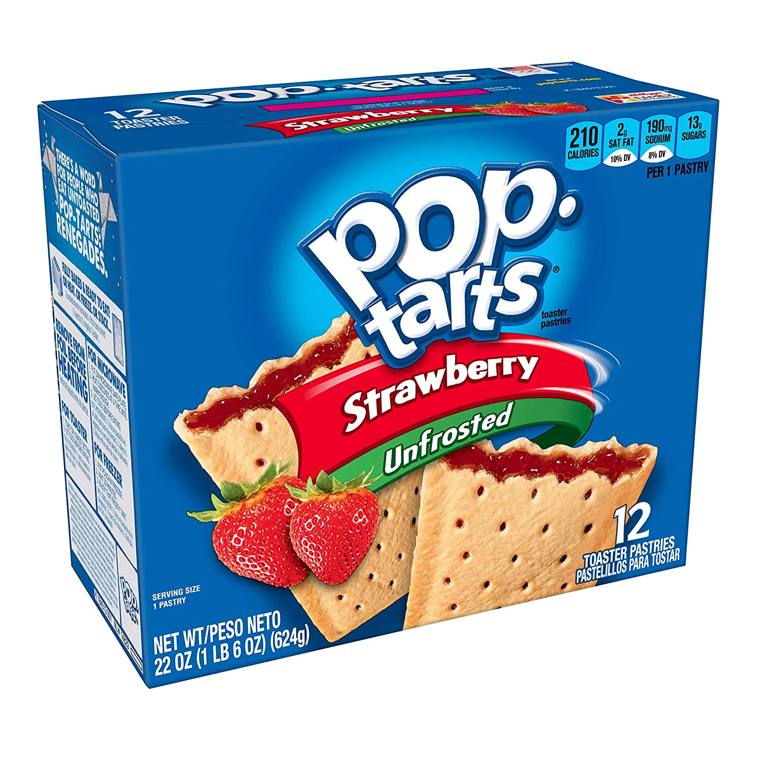 Pop-Tarts Breakfast Toaster Pastries, Unfrosted Strawberry Flavored, 12 Count per pack, 22 Ounce