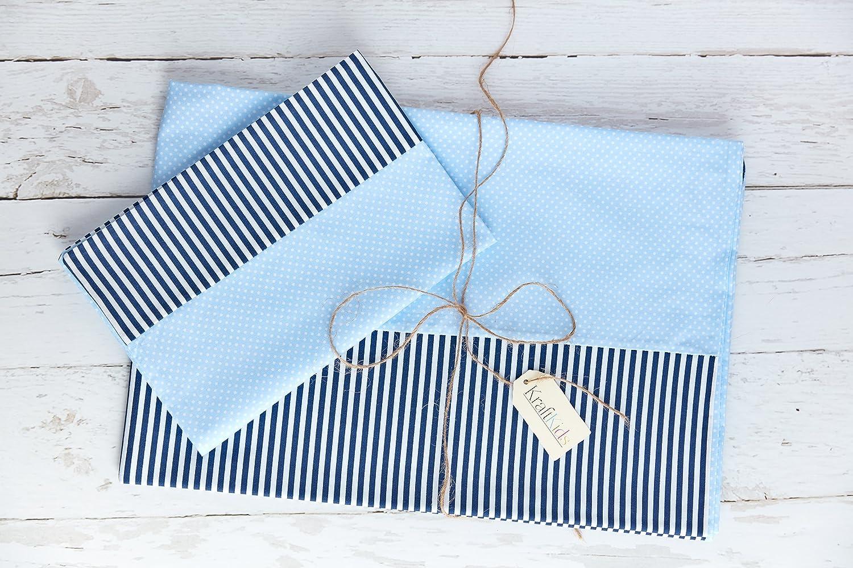 KraftKids Bettwäscheset weiße Punkte auf Hellblau/Streifen dunkelblau 100 x 135 cm, Kissen 40 x 60 cm