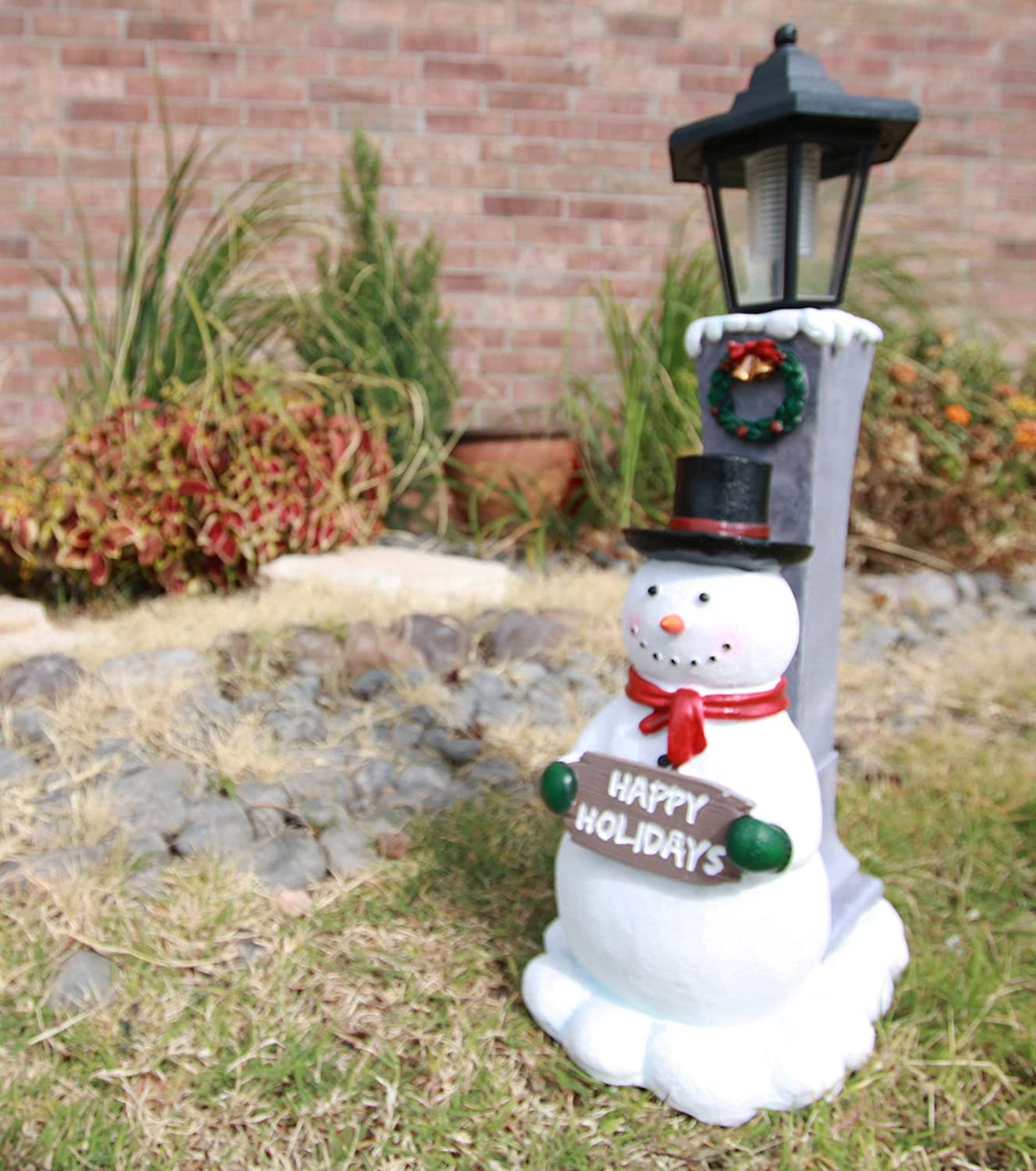 "Ebros Jolly Christmas Season Frosty The Snowman Decorative Statue With Solar LED Light Lantern Lamp 18.5""H As Home Patio Guest Greeter Welcome Decor With Happy Holidays Sign Plaque"