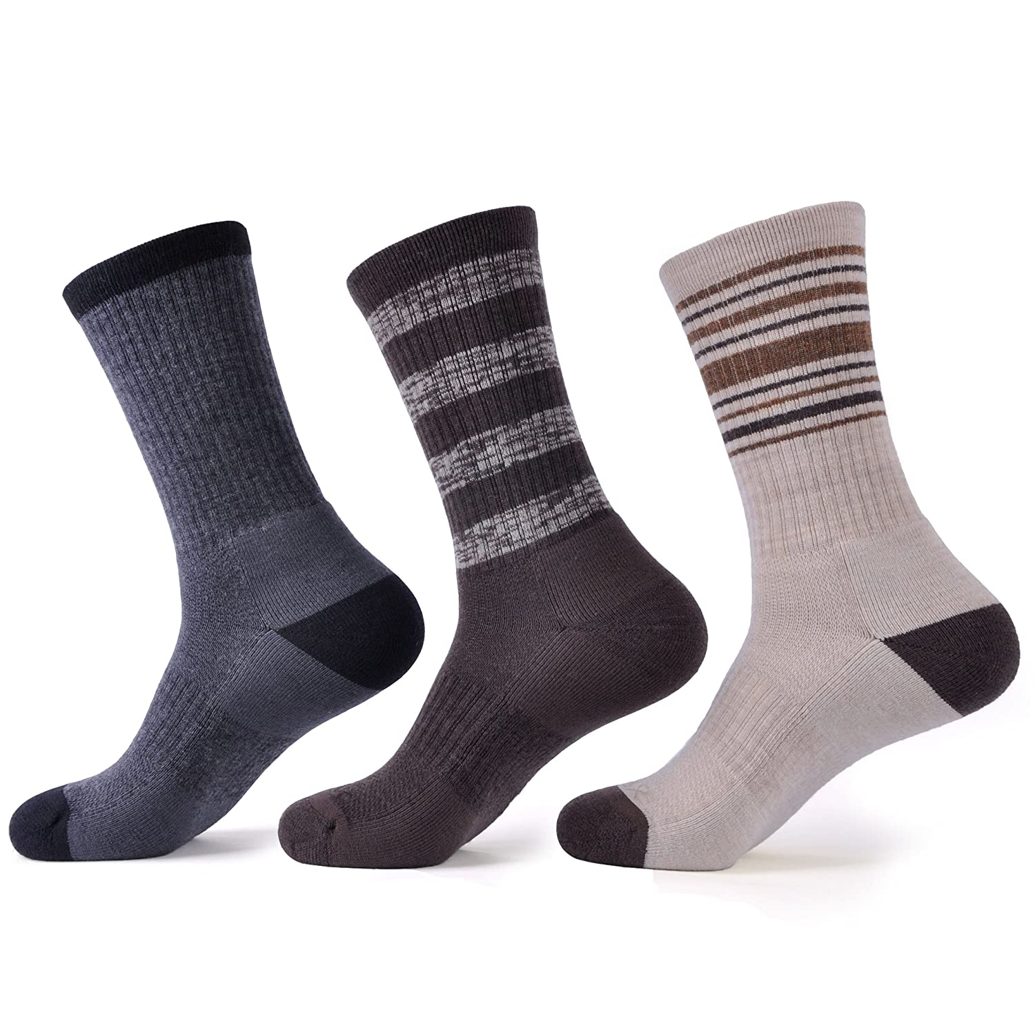 SOLAX 72% Merino Wool Socks Casual Hiking Socks (3 Pairs)