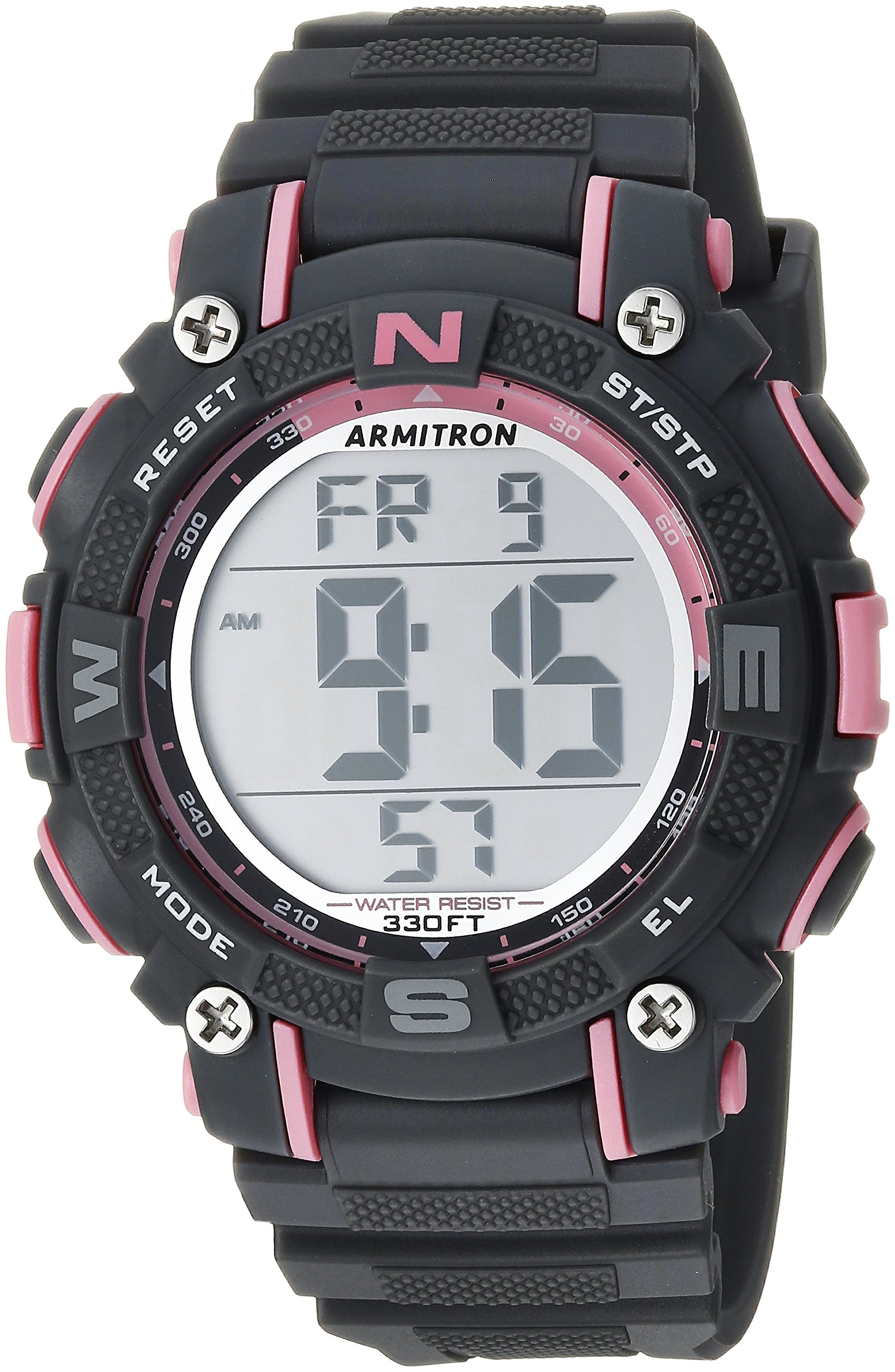 Armitron Sport Women's 45/7099PGY Pink Accented Digital Chronograph Grey Resin Strap Watch by Armitron Sport