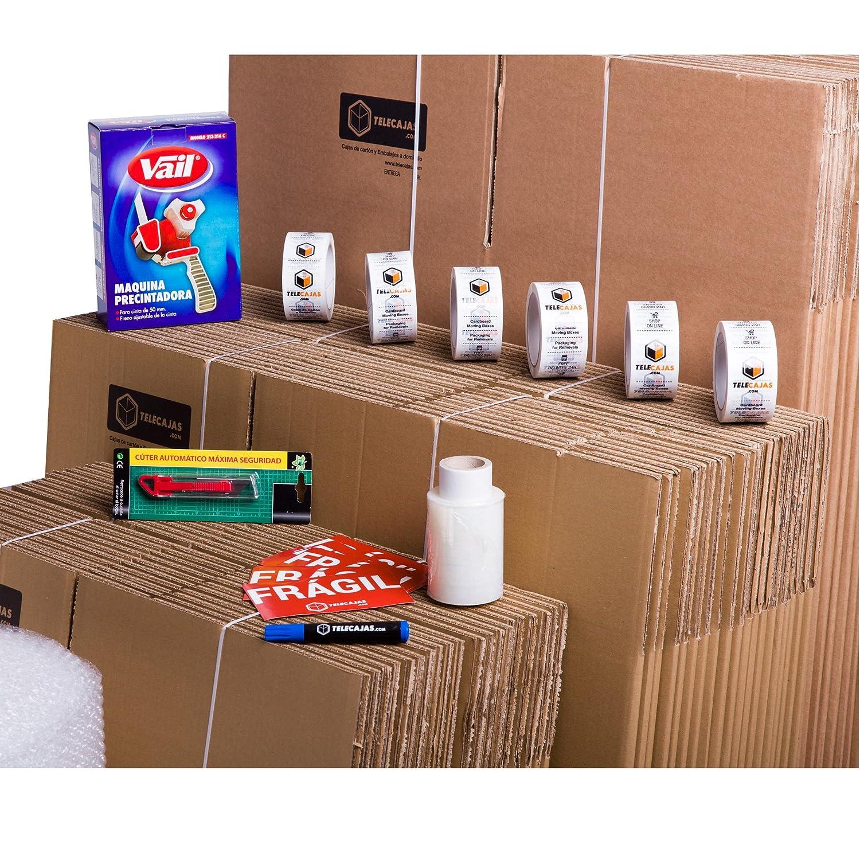 TELECAJAS Pack Mudanza (Cajas de cartón, plástico Burbujas, precinto, etc) con el Embalaje para una mudanza de casa (Pack MUDANZA Couple)
