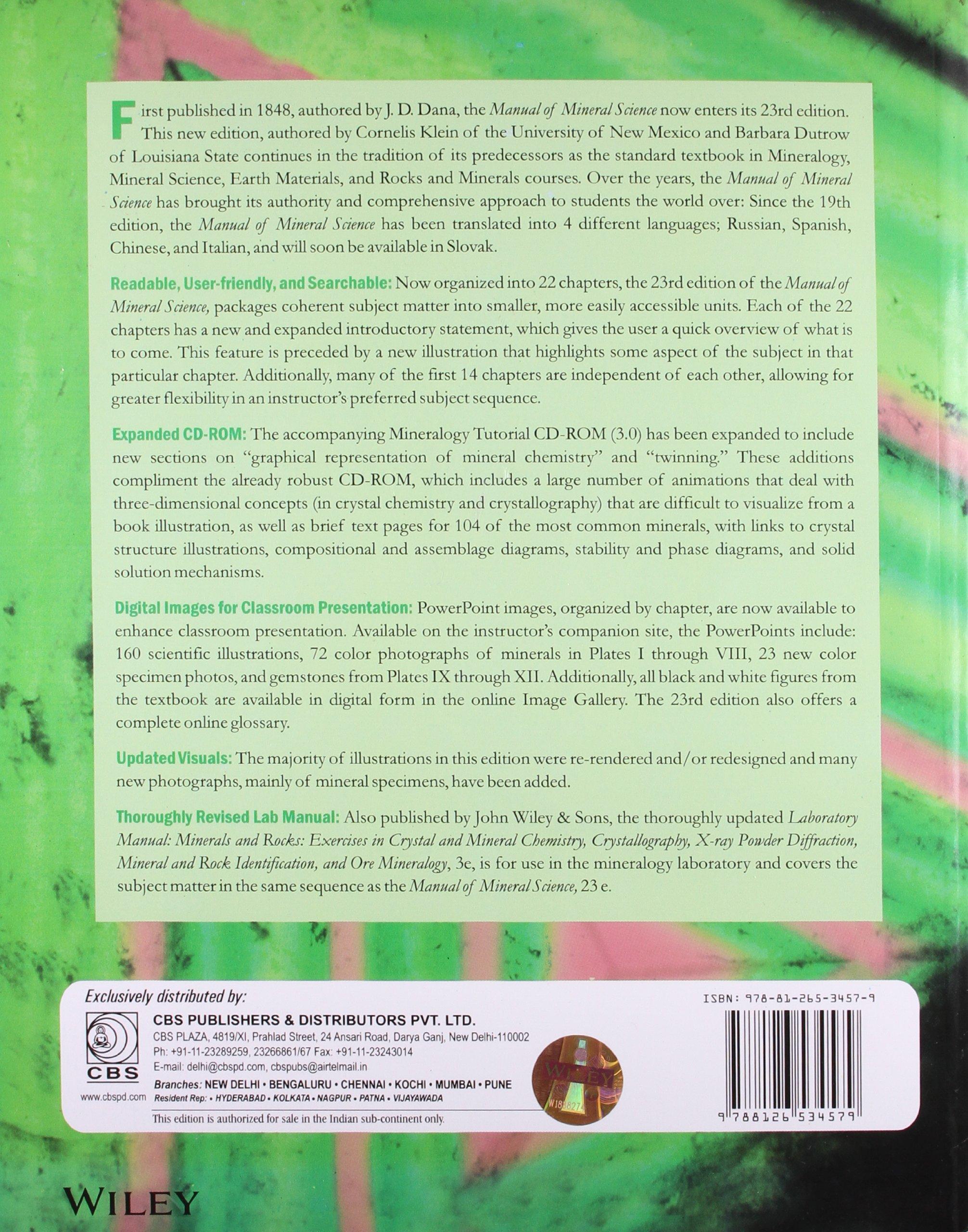 The Manual of Mineral Science: Cornelis Klein: 9788126534579: Amazon.com:  Books