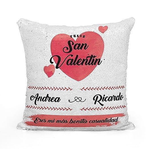 AR Regalos Cojín San Valentín Personalizado de Lentejuelas Reversibles (Rojo)