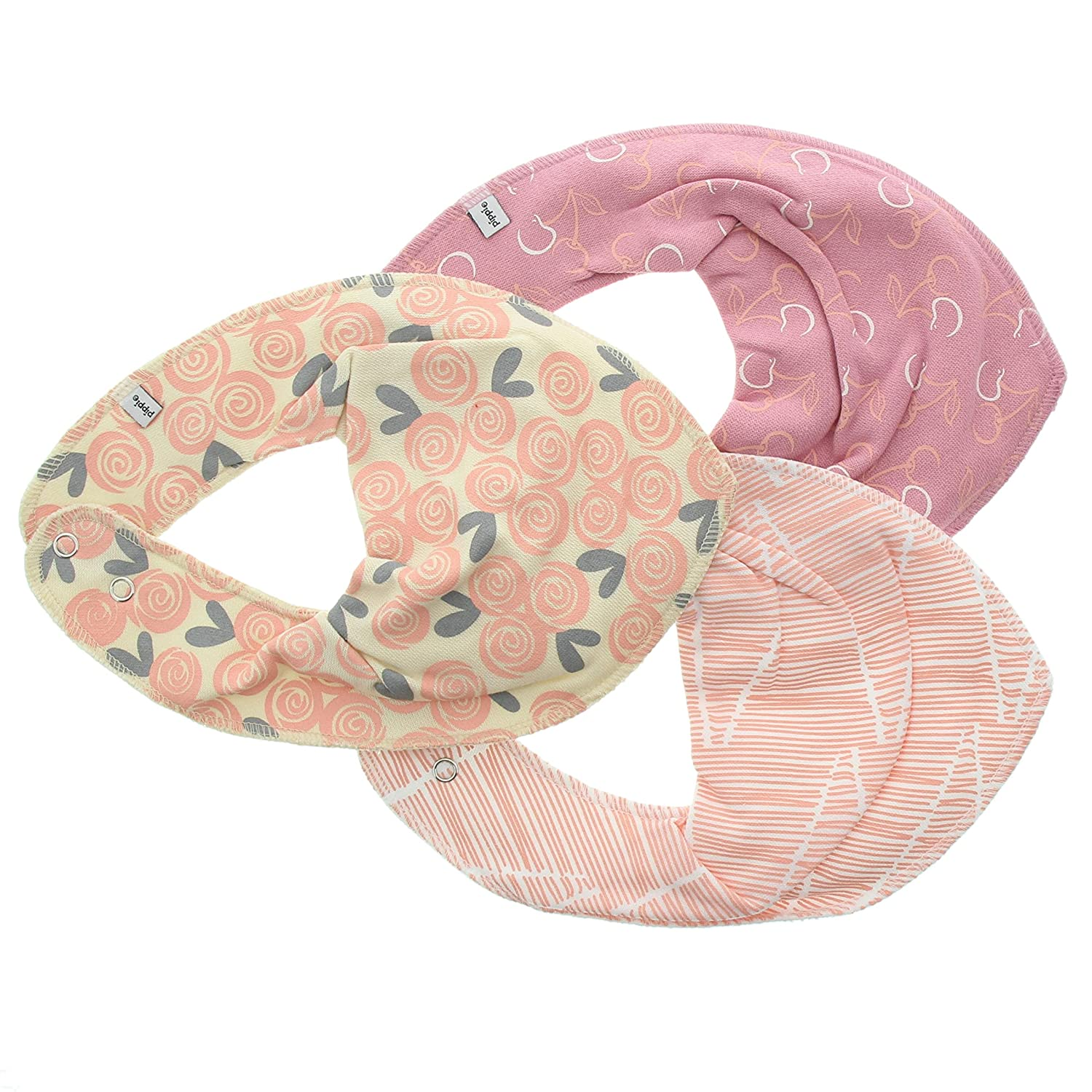 Pippi Baby-Girls Floral Print Bib (Pack of 3) Multicoloured (Peach Pearl) One Size 3815