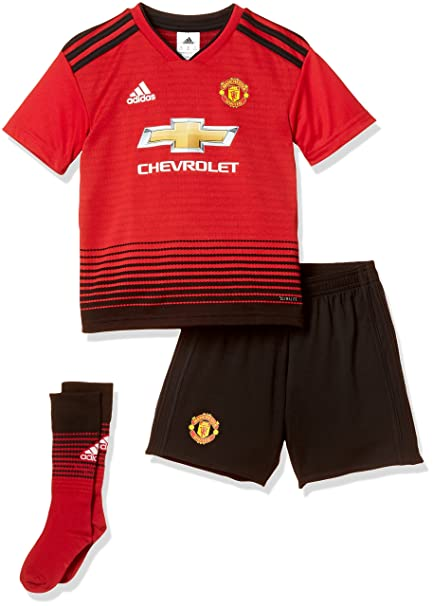 19199178bf2cf Amazon.com: adidas 2018-2019 Man Utd Home Little Boys Mini Kit: Sports &  Outdoors