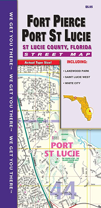 Map Of St Lucie County Florida.Amazon Com Ft Pierce Pt St Lucie County Fl Fold Map Office Products
