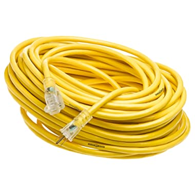 Yellow Jacket 2885 12/3 Heavy-Duty 15-Amp Premium SJTW Contractor Extension Cord with Lighted End, Ideal use With Heavy Duty Equipment and Tools, Durable Molded Plugs, 100 Feet, Yellow