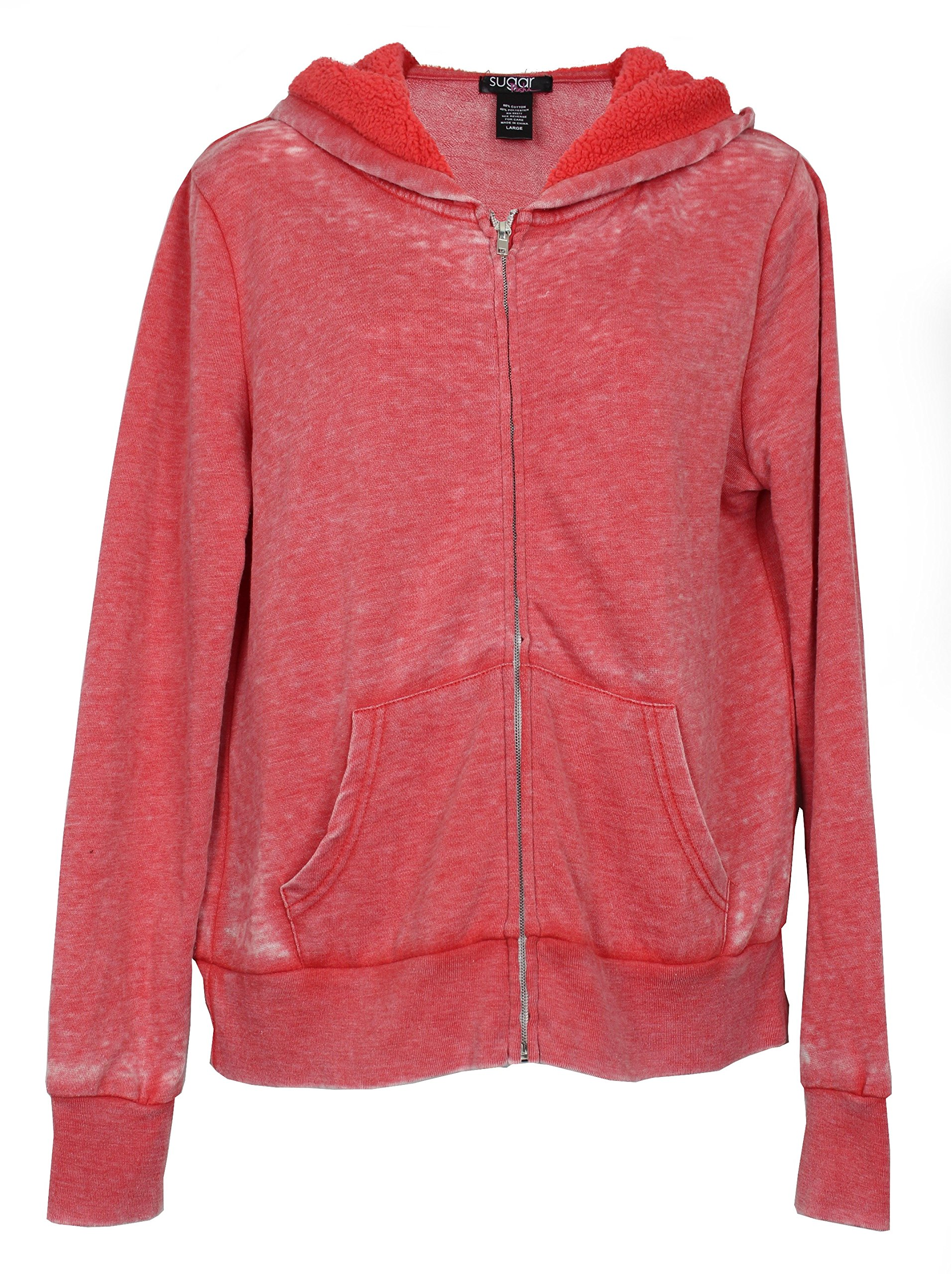 Sugar Rush Women's Zippered Cotton Blend Fashion Hoodie (Medium, Distressed Red)