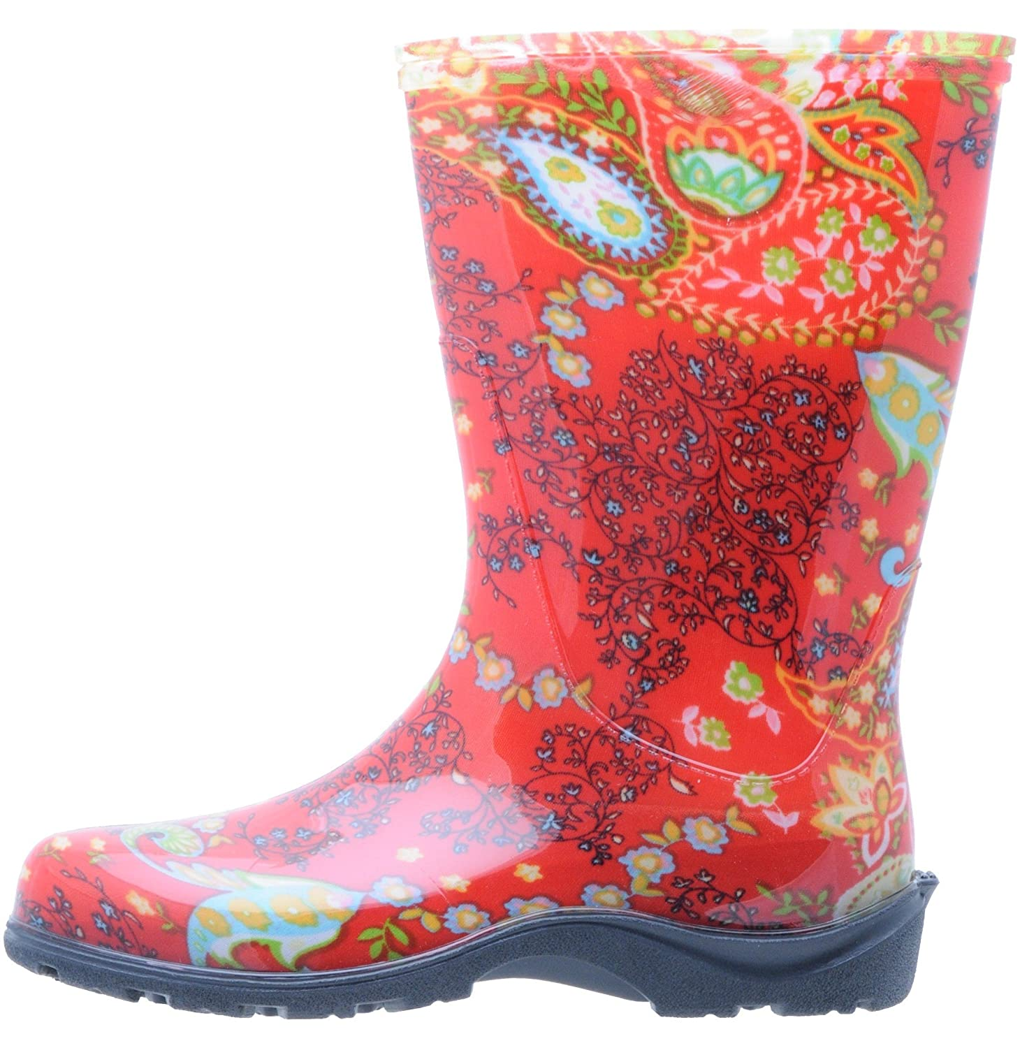 Sloggers  Women's Waterproof Rain and Garden Boot with Comfort Insole, Paisley Red, Size 10,  Style 5004RD10 B001IB7SOG size 10|Paisley Red