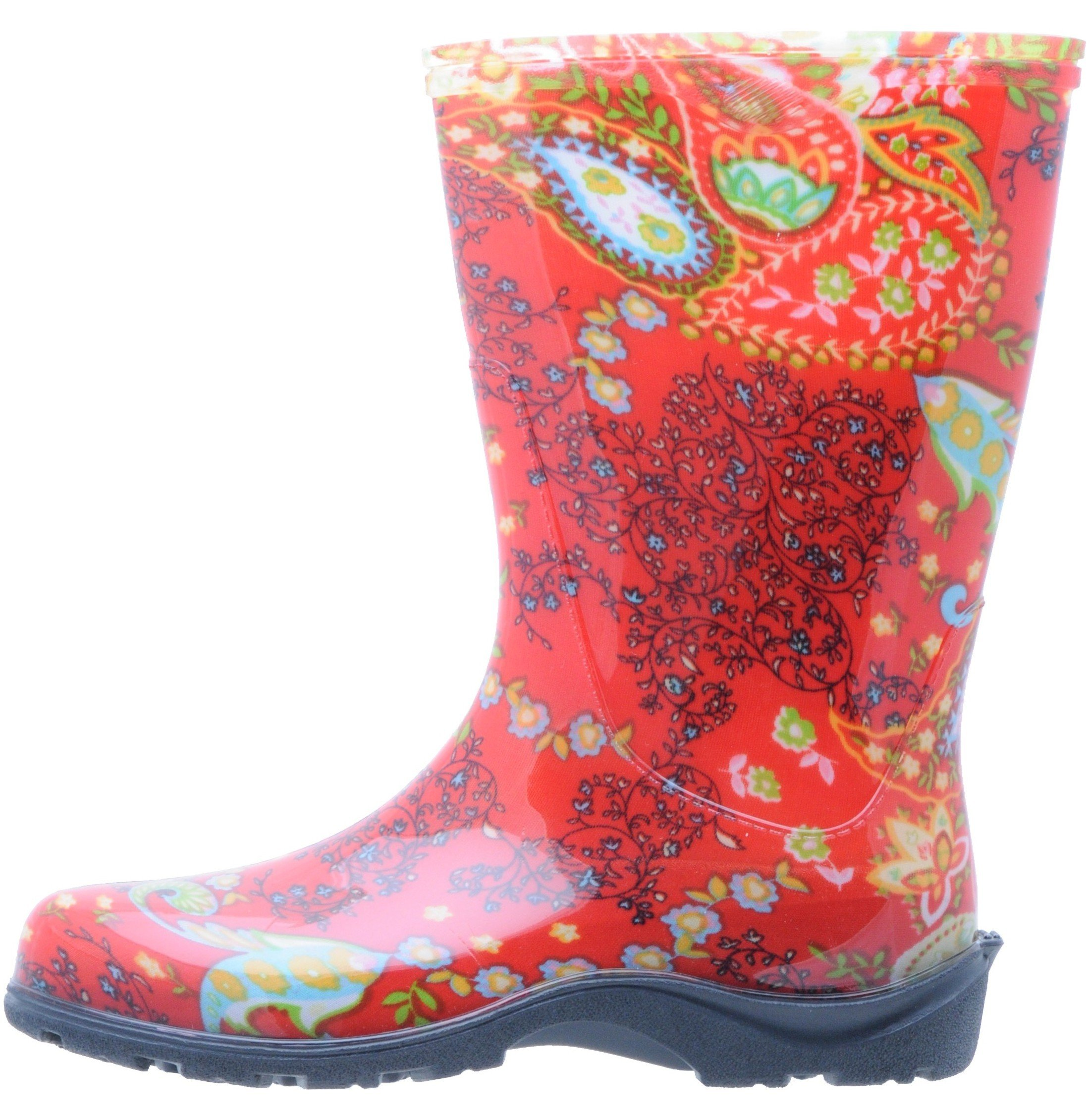 Sloggers  Women's Waterproof Rain and Garden Boot with Comfort Insole, Paisley Red, Size 9, Style 5004RD09 by Sloggers (Image #6)