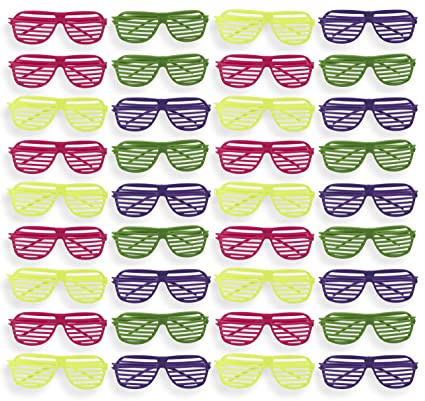 51ca6288961 Party Sunglasses - 36-Pack of Neon Color Plastic Slotted Shutter Shades 80s  Party Favors