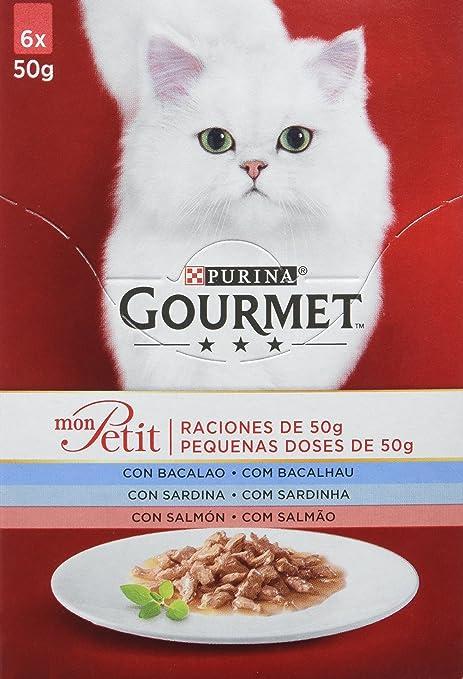 Purina Gourmet Mon Petit comida para gatos con Bacalao, Sardina y ...
