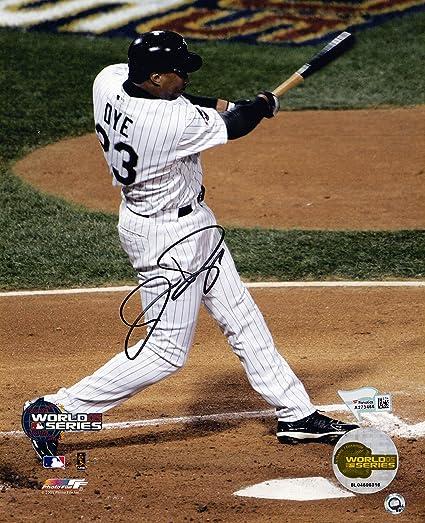 Jermaine Dye Signed White Sox 2005 World Series Swinging Action 8x10 Photo