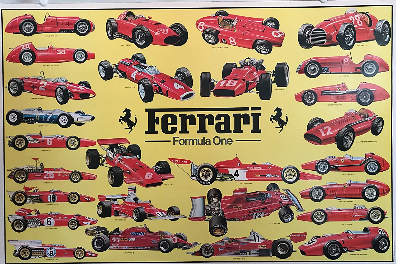 Ferrari 1948-1960 Formula 1 Car Models Print on Paper /& Canvas Giclee Poster