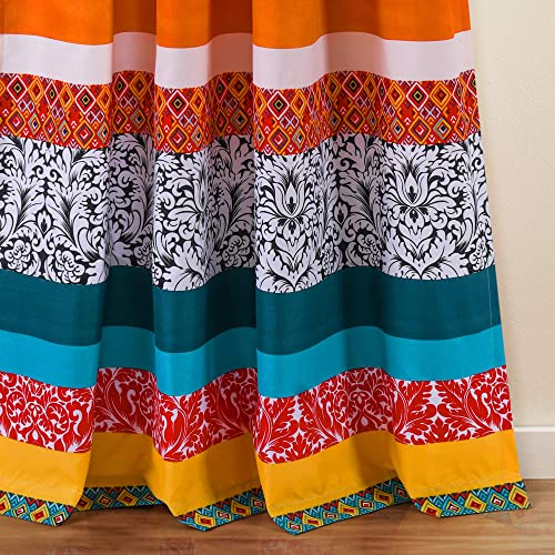 Lush Decor Turquoise and Tangerine Boho Stripe Window Curtain Bohemian Design Panel Pair, 52 Wide x 95 Long