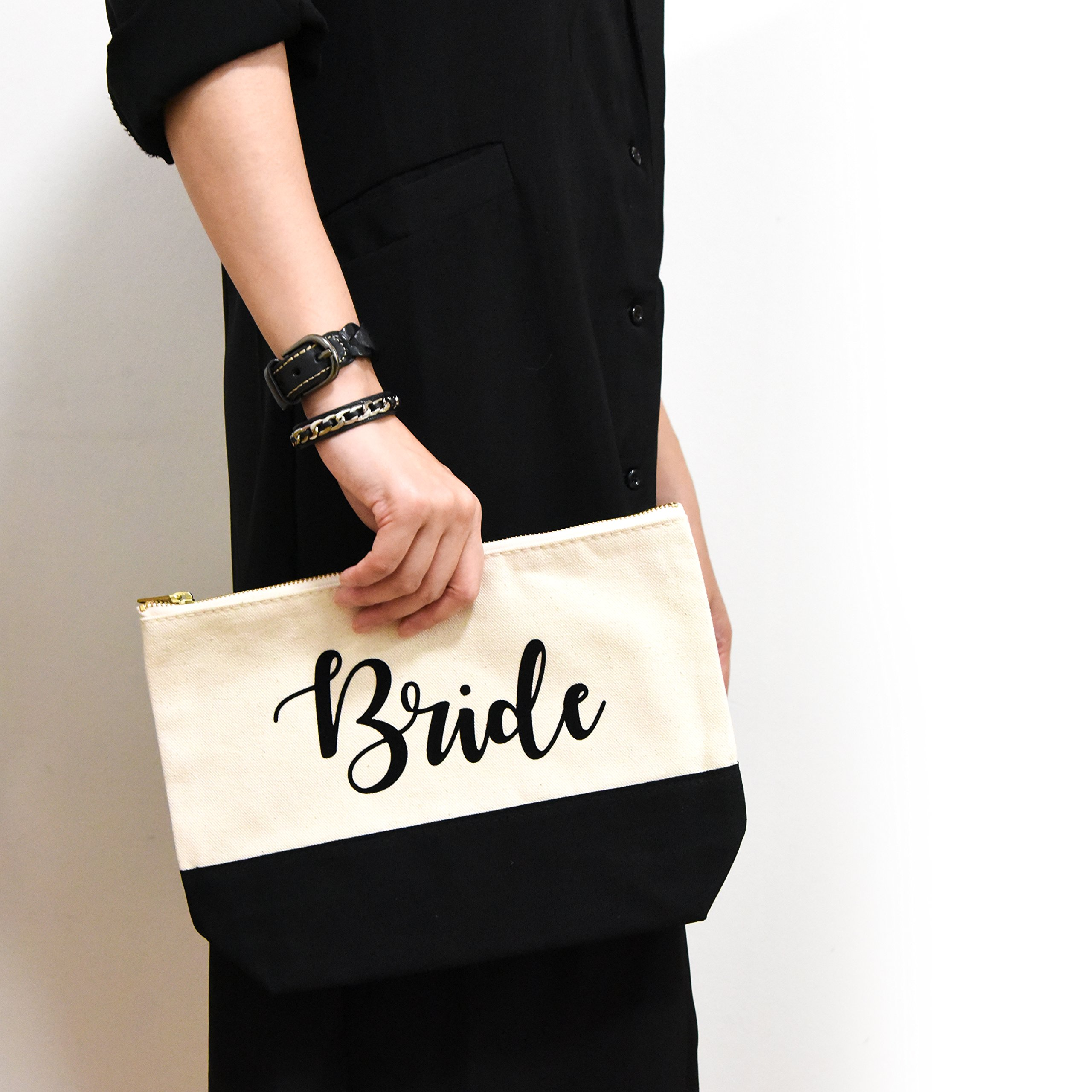 PumPumpz Personalized Gifts Wedding ''Bride'' Large Canvas Travel YKK Zipper Makeup Bag.''Which arrive you within 5 days'' (Bride Black) by PumPumpz (Image #4)