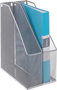 MyGift Silver Wire Mesh Wall Mountable Document Rack, Magazine and File Holder, Set of 2