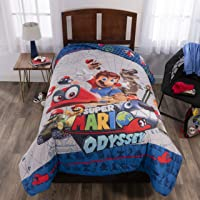 "Nintendo Super Mario Odyssey Soft Microfiber Reversible Comforter, Twin/Full 72"" X 86"", Blue/Grey"