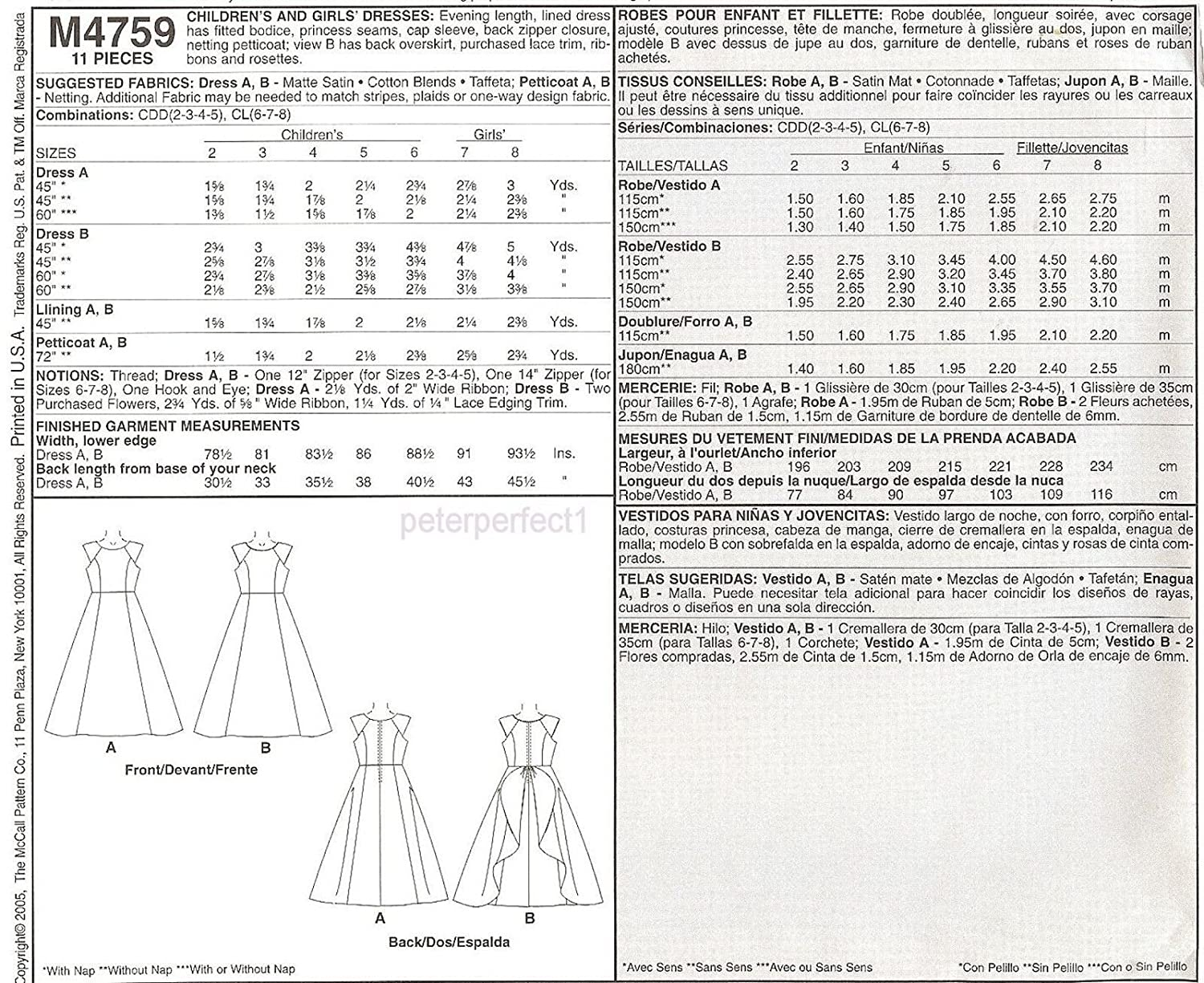 Amazon.com: Mccalls 4759 Special Moments, Flower Girl Dress Gown Sz2-3-4-5 Uncut Sewing Pattern: Home & Kitchen
