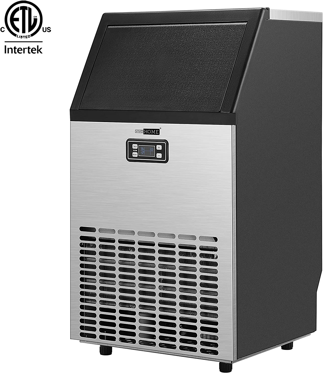 VIVOHOME Electric Portable Commercial Free Standing Ice Cube Maker Machine 99lbs/day Silver
