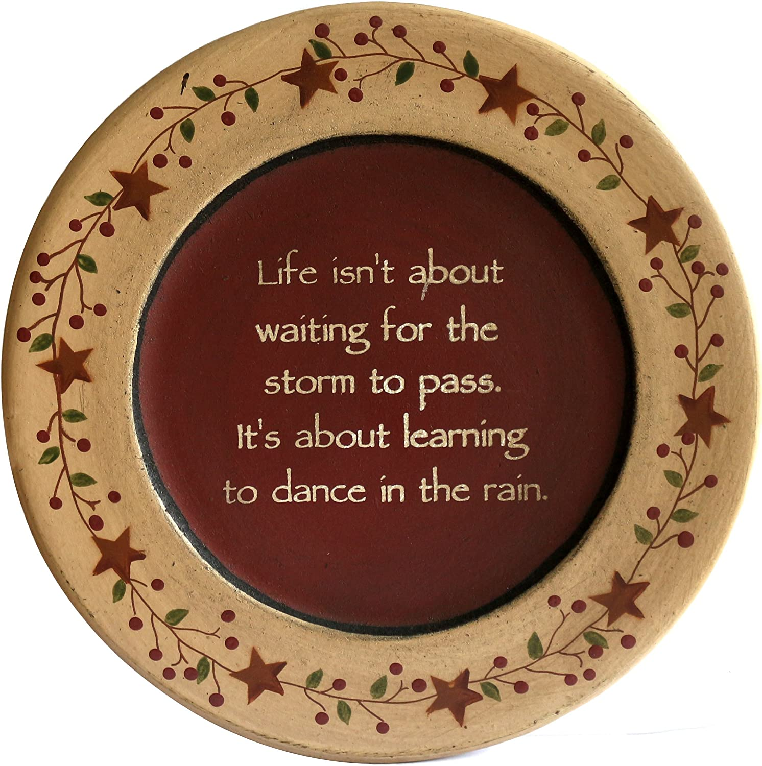 CVHOMEDECO. Primitive Vintage Dance in The Rain Wood Decorative Plate Display Wooden Plate Home Décor Art, 9-3/4 Inch